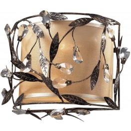 Circeo Deep Rust And Glass Crystals 2 Light Sconce
