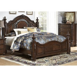 Augustine Court Brown Cherry Cal. King Poster Bed