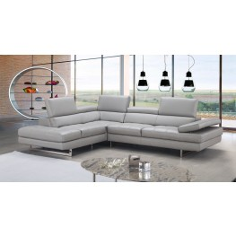 Italian Light Gray Leather LAF Sectional