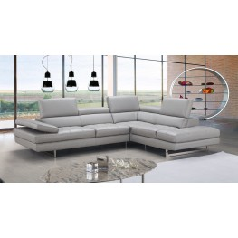Italian Light Gray Leather RAF Sectional