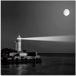 Black and White Lighthouse Wall Art