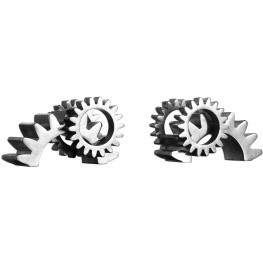 Gears Silver Bookends Set of 2