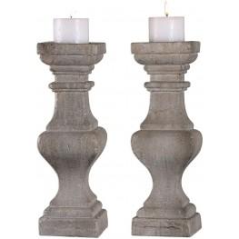Corin Stone Ivory Candleholders Set of 2
