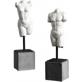 Valini White and Gray Torso Sculptures Set of 2