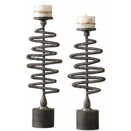 Zigzag Silver Candleholders Set of 2