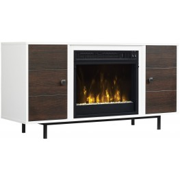 ClassicFlame High Gloss White Ridgeville TV Stand with Electric Fireplace
