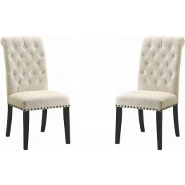 Parkins Cream Upholstered Side Chair Set of 2