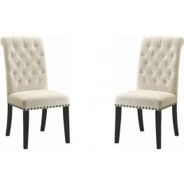 Parkins Cream Upholstered Side Chair Set of 2