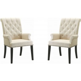 Parkins Cream Upholstered Arm Chair Set of 2