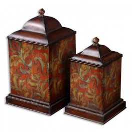 Colorful Flowers Metal Canisters, Set of 2