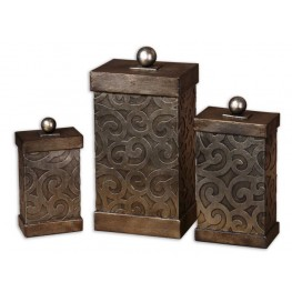 Nera Metal Decorative Boxes, Set of 3