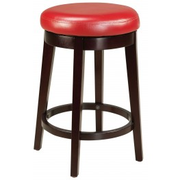 """Round Red 24"""" Upholstered Smart Stool"""
