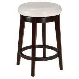 "Round White 24"" Upholstered Smart Stool"
