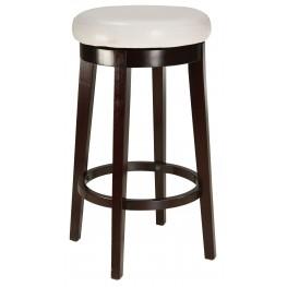 "Round White 29"" Upholstered Smart Stool"
