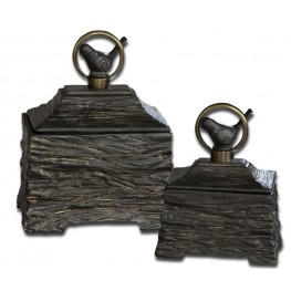 Birdie Metallic Gray Boxes, Set of 2