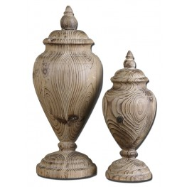 Brisco Carved Wood Finials, Set of 2