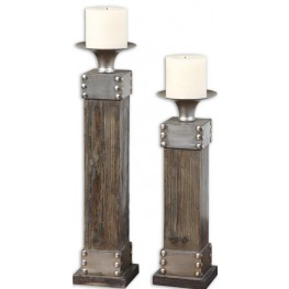 Lican Natural Wood Candleholders, Set of 2