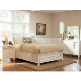 Sandy Beach White Sleigh Storage Bedroom Set - 201309