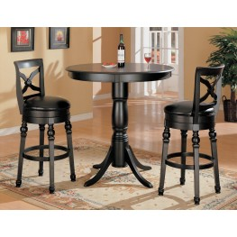 Black Finish Bar Counter Height Pub Stool Set - 10027