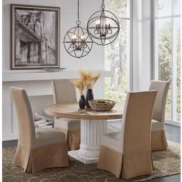 Doric White Round Pedestal Dining Room Set