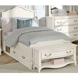 Kensington Antique White Charlotte Twin Panel Bed With Storage