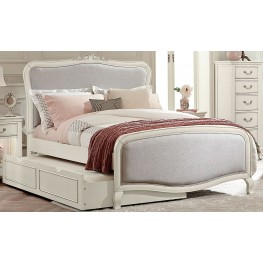 Kensington Antique White Katherine Upholstered Full Panel Bed With Trundle