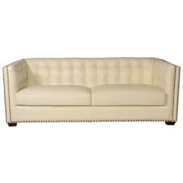 Belarie White Leather Sofa