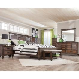 Franco Burnished Oak Panel Bedroom Set