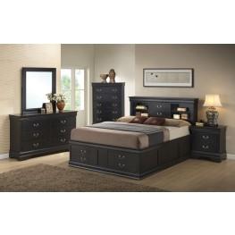 Louis Philippe Black Storage Bedroom Set