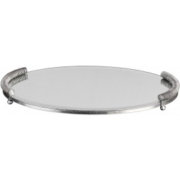 Egidio Gray Mirrored Oval Tray