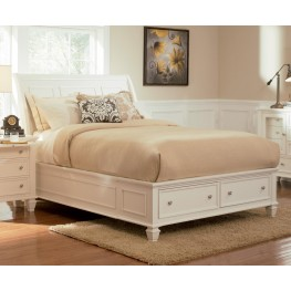Sandy Beach White Queen Sleigh Storage Bed