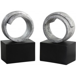 Twist Modern Silver Bookends Set of 2