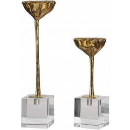 American Lotus Pod Gold Sculptures Set of 2