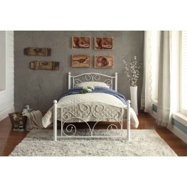 Pallina White Twin Metal Platform Bed