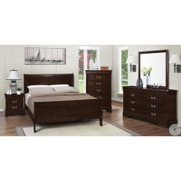 Louis Philippe Rich Cappuccino Sleigh Bedroom Set