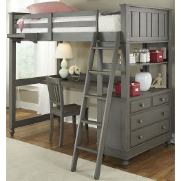 Lake House Stone Twin Loft Bed with Desk
