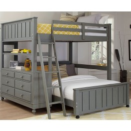 Lake House Stone Full Loft Bed with Full Lower Bed