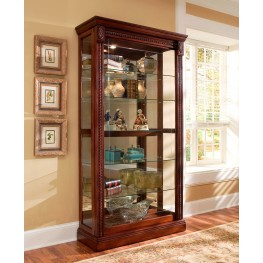 Medallion Cherry Two Way Sliding Door Curio