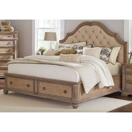 Ilana Antique Linen Cal. King Panel Storage Bed
