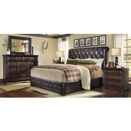 Whiskey Barrel Oak Upholstered Platform Bedroom Set