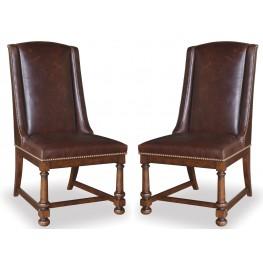 Whiskey Barrel Oak Leather Side Chair Set of 2