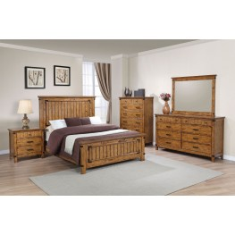 Brenner Rustic Honey Panel Bedroom Set