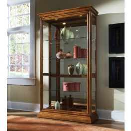 Golden Oak Two Way Sliding Door Curio