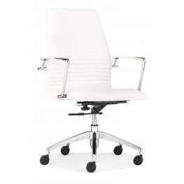 Lion White Low Back Office Chair