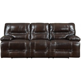 Overland Chocolate Leather Power Reclining Sofa