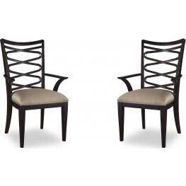 Cosmopolitan Ebony Ribbon Back Arm Chair Set of 2