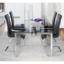 Ritz Mo Stainless Steel Rectangular Extendable Dining Room Set with Regis Sydney Dining Chairs