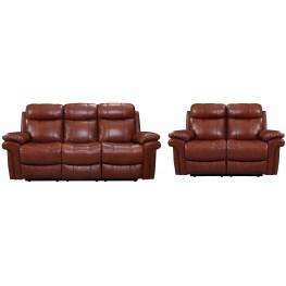 France Saddle Leather Reclining Living Room Set