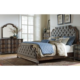 Tuscan Valley Weathered Oak Upholstered Panel Bedroom Set