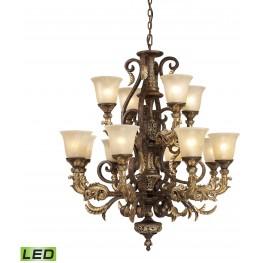 Regency Burnt Bronze And Gold Leaf 12 Light LED Chandelier